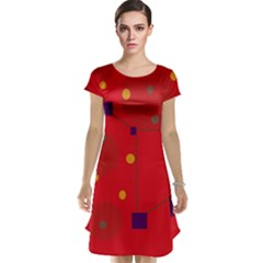 Red Abstract Sky Cap Sleeve Nightdress by Valentinaart