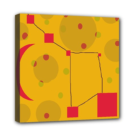 Yellow Abstract Sky Mini Canvas 8  X 8  by Valentinaart