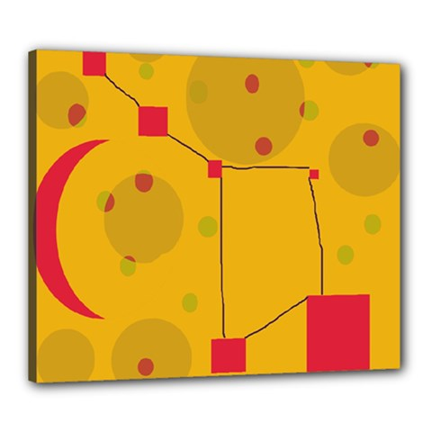 Yellow Abstract Sky Canvas 24  X 20  by Valentinaart