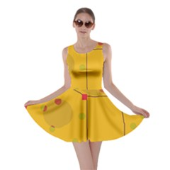 Yellow Abstract Sky Skater Dress by Valentinaart