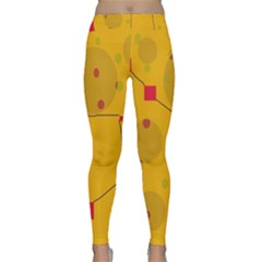 Yellow Abstract Sky Yoga Leggings by Valentinaart