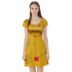 Yellow Abstract Sky Short Sleeve Skater Dress by Valentinaart