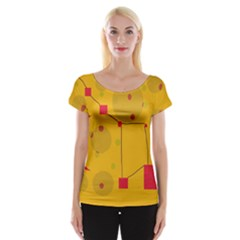 Yellow Abstract Sky Women s Cap Sleeve Top by Valentinaart