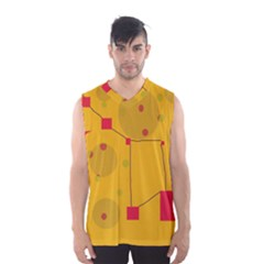 Yellow Abstract Sky Men s Basketball Tank Top by Valentinaart
