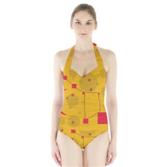 Yellow Abstract Sky Halter Swimsuit by Valentinaart