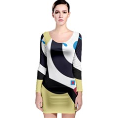 Digital Abstraction Long Sleeve Bodycon Dress by Valentinaart