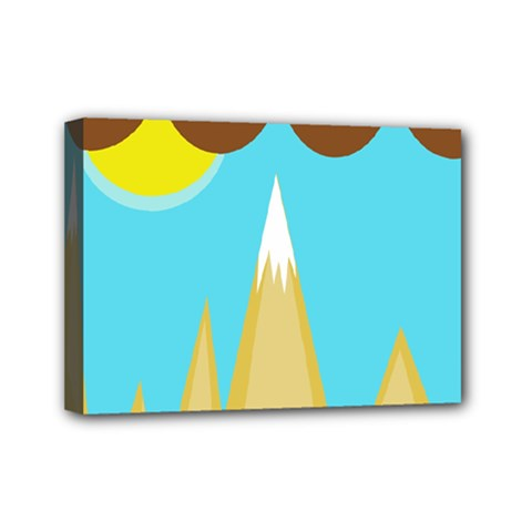 Abstract Landscape  Mini Canvas 7  X 5  by Valentinaart