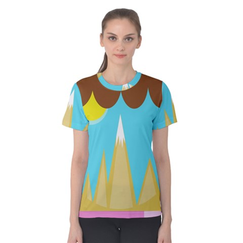 Abstract Landscape  Women s Cotton Tee by Valentinaart