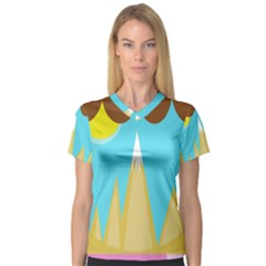 Abstract Landscape  Women s V Neck Sport Mesh Tee by Valentinaart