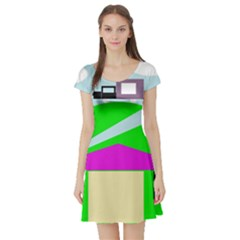Abstract Landscape  Short Sleeve Skater Dress by Valentinaart