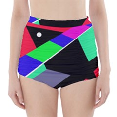 Abstract Fish High-waisted Bikini Bottoms by Valentinaart
