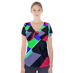 Abstract Fish Short Sleeve Front Detail Top by Valentinaart