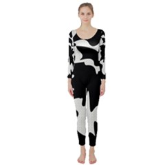 Black And White Elegant Design Long Sleeve Catsuit by Valentinaart