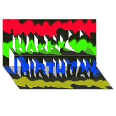 Colorful Abstraction Happy Birthday 3d Greeting Card (8x4)  by Valentinaart