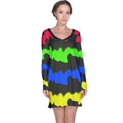Colorful Abstraction Long Sleeve Nightdress by Valentinaart