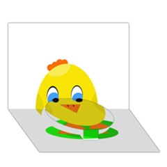 Cute Chicken  Circle Bottom 3d Greeting Card (7x5)  by Valentinaart