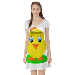 Cute Chicken  Short Sleeve Skater Dress by Valentinaart
