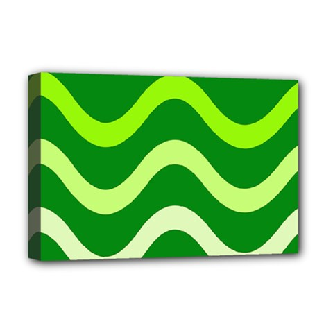 Green Waves Deluxe Canvas 18  X 12   by Valentinaart