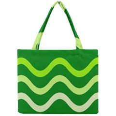 Green Waves Mini Tote Bag by Valentinaart