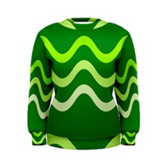 Green Waves Women s Sweatshirt by Valentinaart