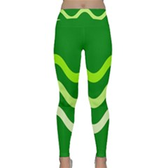 Green Waves Yoga Leggings by Valentinaart