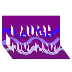 Purple Waves Laugh Live Love 3d Greeting Card (8x4)  by Valentinaart