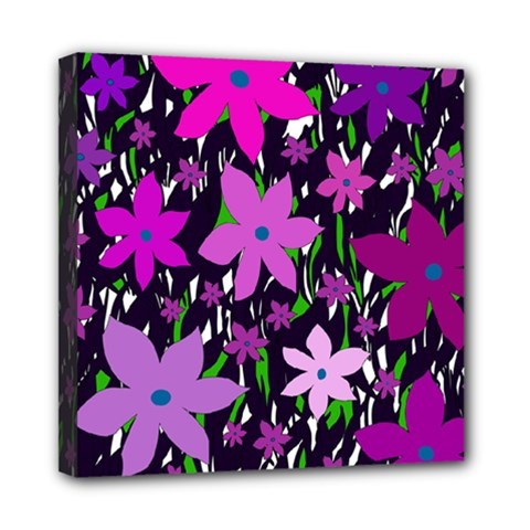 Purple Fowers Mini Canvas 8  X 8  by Valentinaart