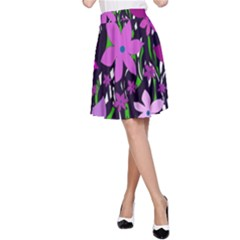 Purple Fowers A Line Skirt by Valentinaart
