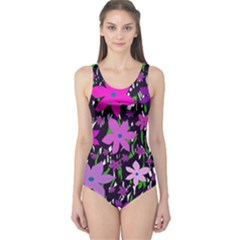 Purple Fowers One Piece Swimsuit by Valentinaart