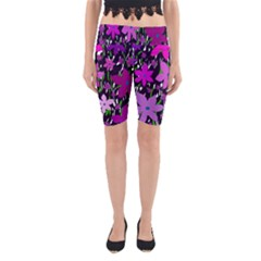 Purple Fowers Yoga Cropped Leggings by Valentinaart