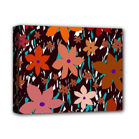 Orange Flowers  Deluxe Canvas 14  X 11  by Valentinaart