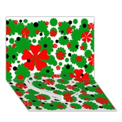 Red And Green Christmas Design  Heart Bottom 3d Greeting Card (7x5)  by Valentinaart
