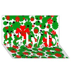 Red And Green Christmas Design  #1 Dad 3d Greeting Card (8x4)  by Valentinaart