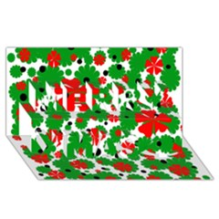 Red And Green Christmas Design  Merry Xmas 3d Greeting Card (8x4)  by Valentinaart