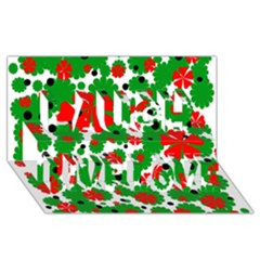 Red And Green Christmas Design  Laugh Live Love 3d Greeting Card (8x4)  by Valentinaart
