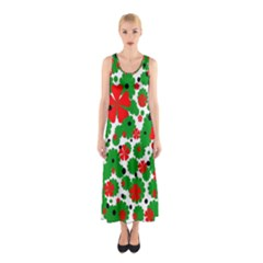 Red And Green Christmas Design  Sleeveless Maxi Dress by Valentinaart