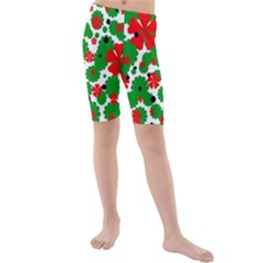 Red And Green Christmas Design  Kid s Mid Length Swim Shorts by Valentinaart