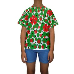 Red And Green Christmas Design  Kid s Short Sleeve Swimwear by Valentinaart