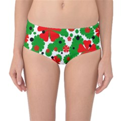 Red And Green Christmas Design  Mid-waist Bikini Bottoms by Valentinaart