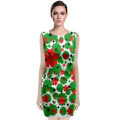 Red And Green Christmas Design  Classic Sleeveless Midi Dress by Valentinaart