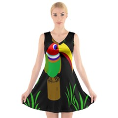 Toucan V Neck Sleeveless Skater Dress by Valentinaart