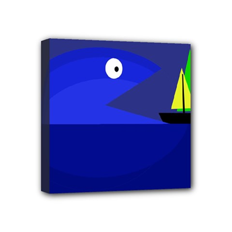 Blue Monster Fish Mini Canvas 4  X 4  by Valentinaart