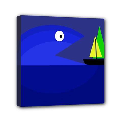 Blue Monster Fish Mini Canvas 6  X 6  by Valentinaart