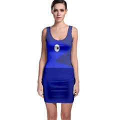 Blue Monster Fish Sleeveless Bodycon Dress by Valentinaart