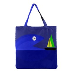 Blue Monster Fish Grocery Tote Bag by Valentinaart