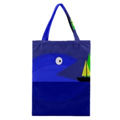 Blue Monster Fish Classic Tote Bag by Valentinaart