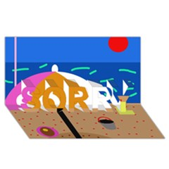 On The Beach  Sorry 3d Greeting Card (8x4)  by Valentinaart
