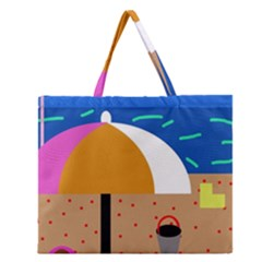 On The Beach  Zipper Large Tote Bag by Valentinaart