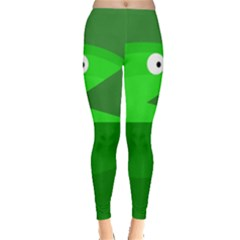 Green Monster Fish Leggings  by Valentinaart