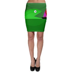 Green Monster Fish Bodycon Skirt by Valentinaart